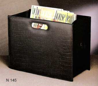 Magazine Rack Black Leather