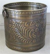 embossed brass planter