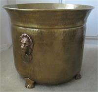 Hammered Brass planter lion handles