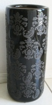 Porcelain Umbrella Stand Black and Grey