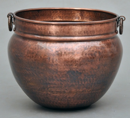 Copper Planter in hammered finish with cast brass handles