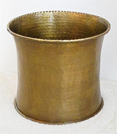 Hammered brass planter