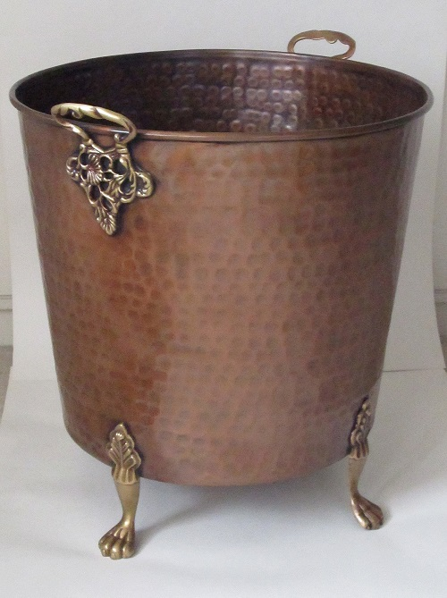 Large Copper Planter Footed