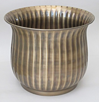 Solid Brass Planter Ribbed