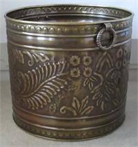 solid brass planter embossed