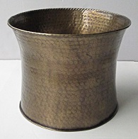 Brass Planter Curved Hammered