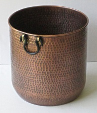 Large Copper Planter Hammered
